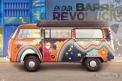 VW Camper Van Poster Bulli Cuba