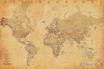 Weltkarte Poster (Worldmap Vintage Style)