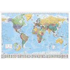 WORLD MAP GIANT POSTER WITH FLAGS
