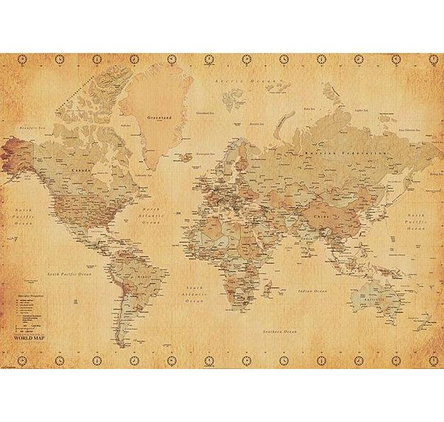 weltkarte xxl poster world map vintage style xxl. Black Bedroom Furniture Sets. Home Design Ideas