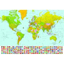 World Map Weltkarte Flaggen