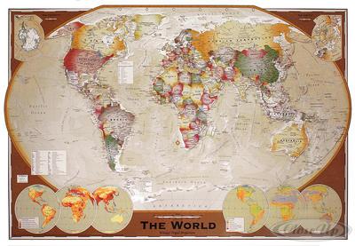Weltkarte Poster Winkel-Tripel-Projektion