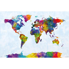 Watercolor World Map Poster -