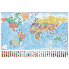 World Flags Planisphere Poster