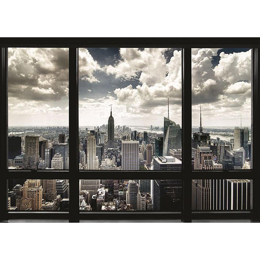 new york poster skyline fenster xxl poster jetzt im shop bestellen close up gmbh. Black Bedroom Furniture Sets. Home Design Ideas