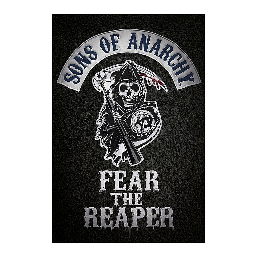 sons of anarchy poster fear the reaper logo poster. Black Bedroom Furniture Sets. Home Design Ideas