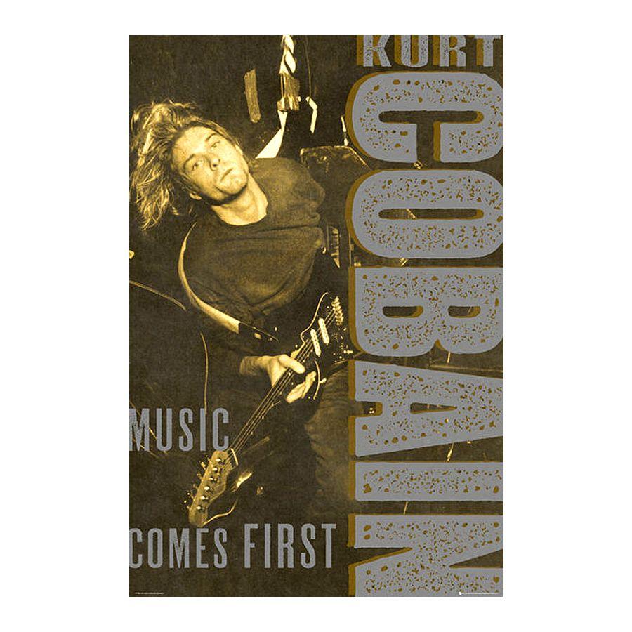 Nirvana Poster Kurt Cobain Music Comes First - Poster Großformat ...