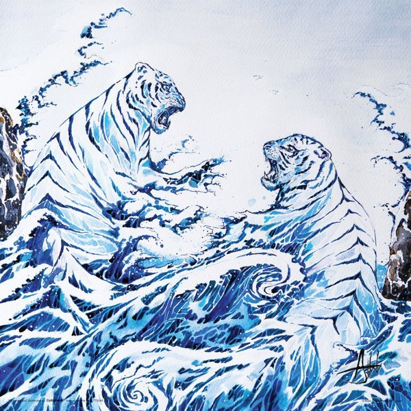 Blue Tigers Kunstdruck