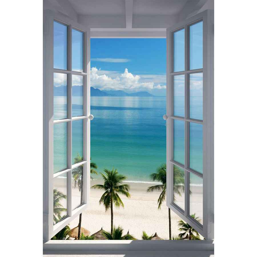 fenster zum strand poster beach window. Black Bedroom Furniture Sets. Home Design Ideas