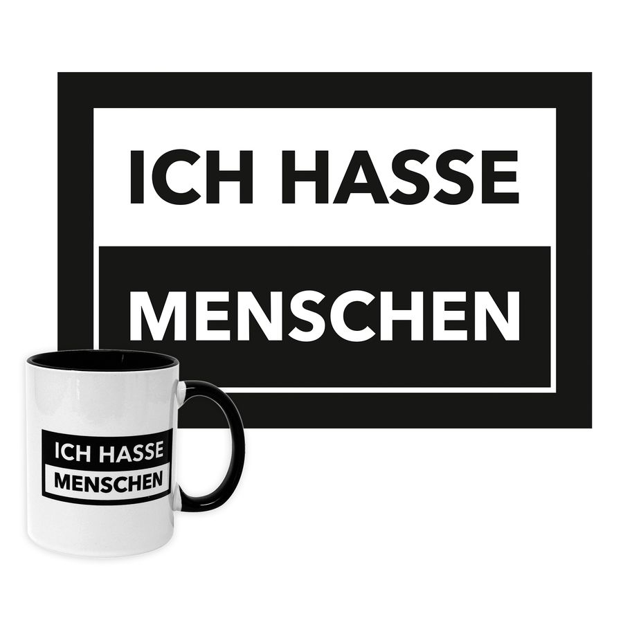 ich hasse menschen tasse und fu matten set fanartikel jetzt im shop bestellen close up gmbh. Black Bedroom Furniture Sets. Home Design Ideas