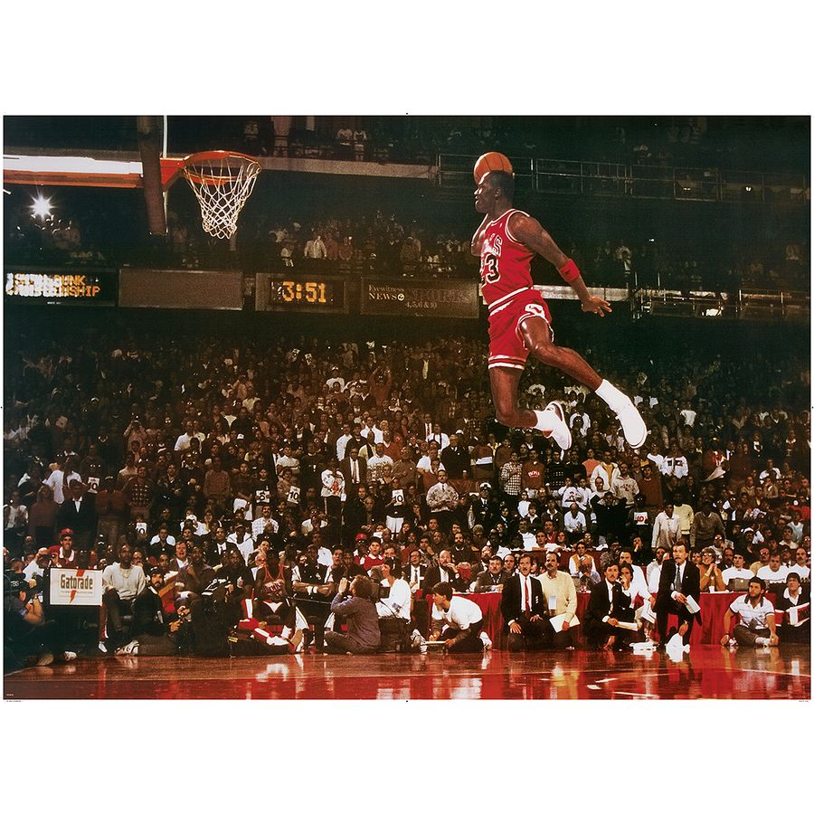 michael jordan xxl poster slam dunk contest bei close up. Black Bedroom Furniture Sets. Home Design Ideas