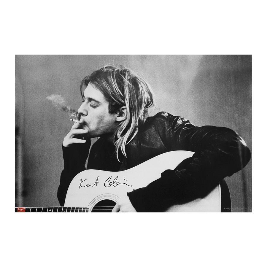Nirvana Poster Kurt Cobain Smoking & Guitar - Poster Großformat ...