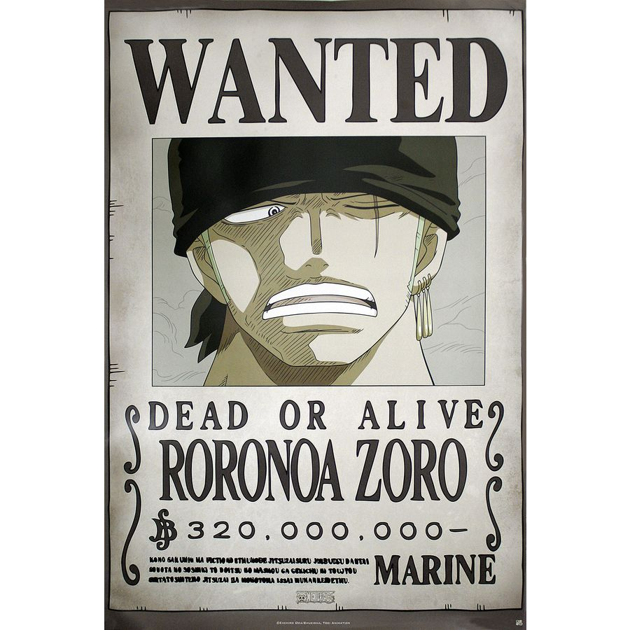 one piece poster wanted roronoa zoro poster gro format jetzt im shop bestellen close up gmbh. Black Bedroom Furniture Sets. Home Design Ideas