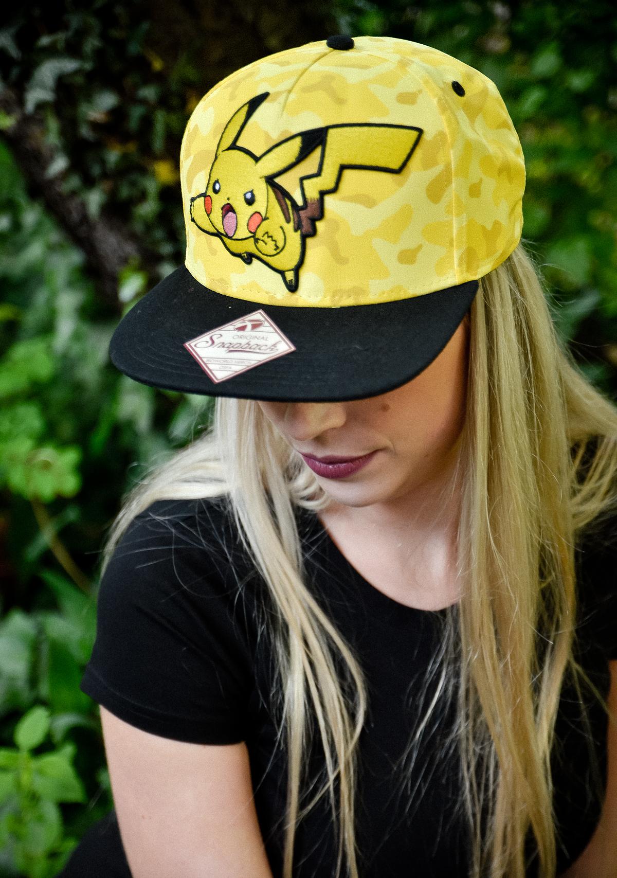Pokémon Snap Back Cap Pikachu, schwarz/gelb, Größenverstellbar