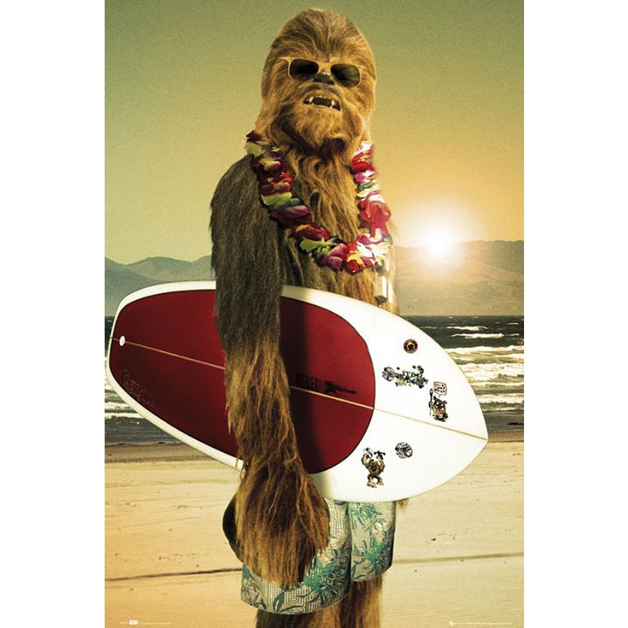 star wars poster chewbacca surfin 39 poster gro format jetzt im shop bestellen close up gmbh. Black Bedroom Furniture Sets. Home Design Ideas