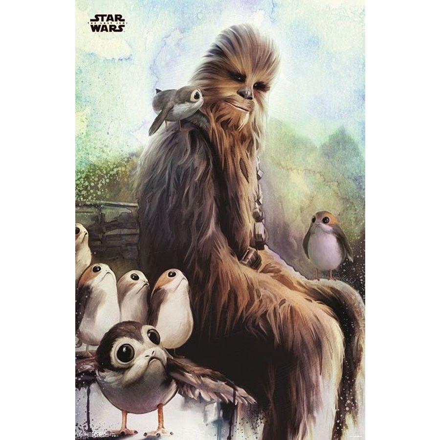 Star Wars Episode 8 Poster Chewbacca & Porgs - Poster Großformat ...