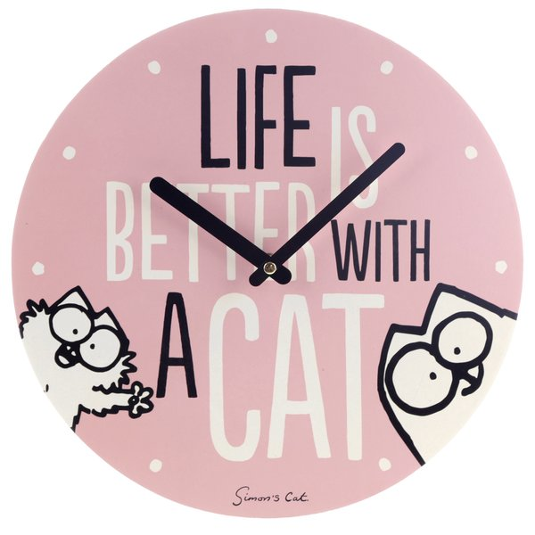 Simon's Cat Wanduhr Life Is