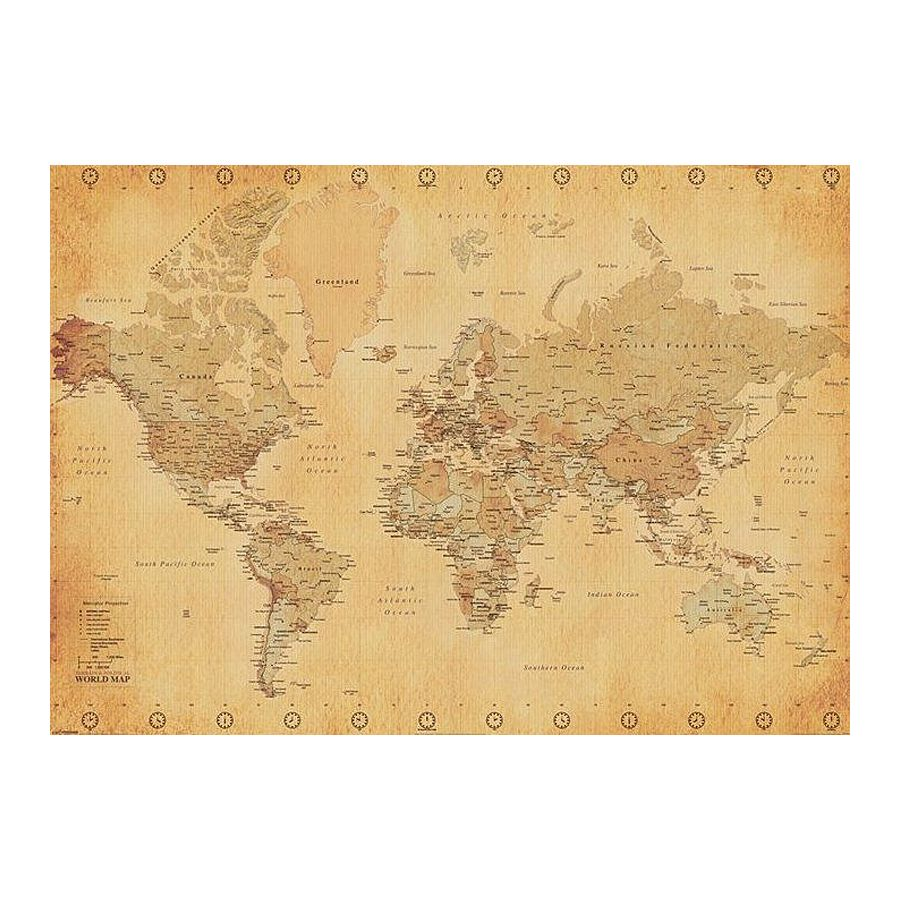 weltkarte xxl poster world map vintage style xxl poster jetzt im shop bestellen close up gmbh. Black Bedroom Furniture Sets. Home Design Ideas