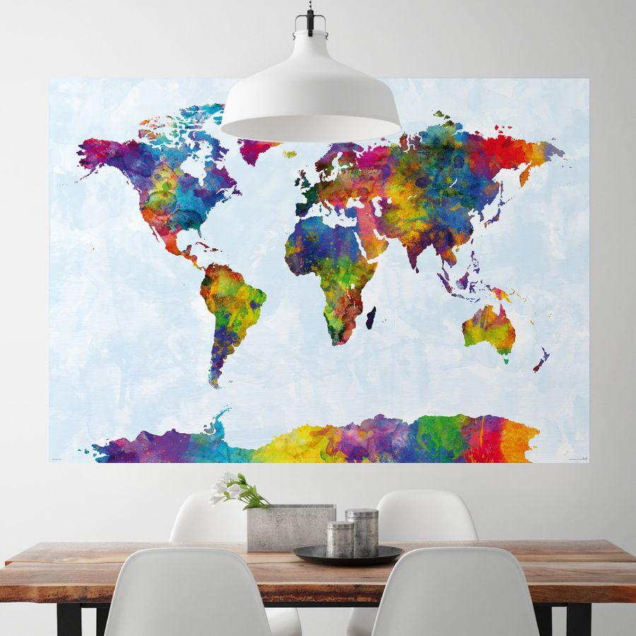 XXL-Weltkarte Riesenformat in Werfarben on