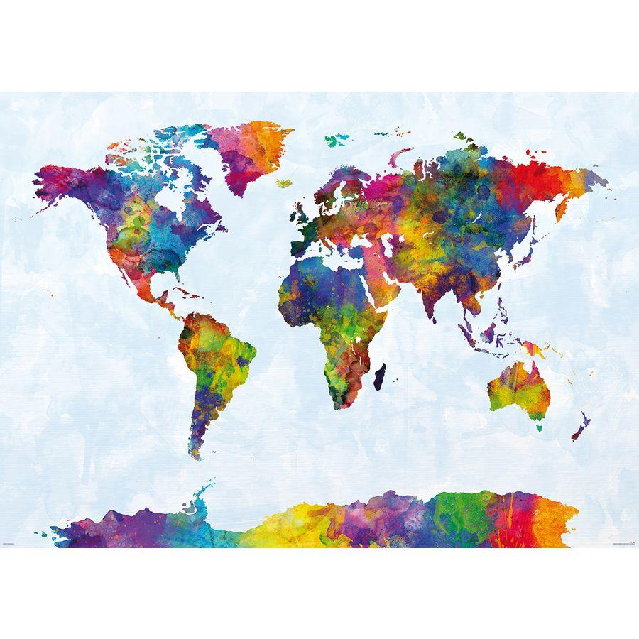 XXL-Weltkarte Riesenformat in Wasserfarben