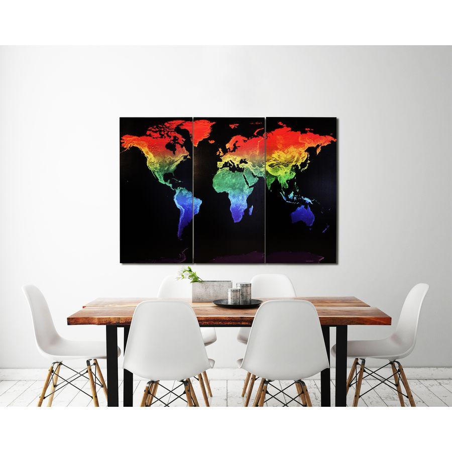 weltkarte auf leinwand maps in minutes rainbow holz und leinwanddrucke jetzt im shop. Black Bedroom Furniture Sets. Home Design Ideas