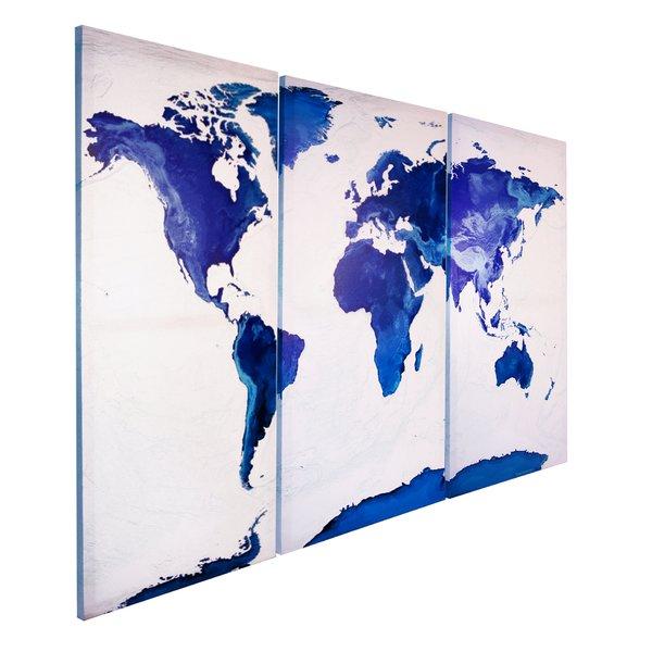 weltkarte auf leinwand maps in minutes saphire holz und leinwanddrucke jetzt im shop. Black Bedroom Furniture Sets. Home Design Ideas
